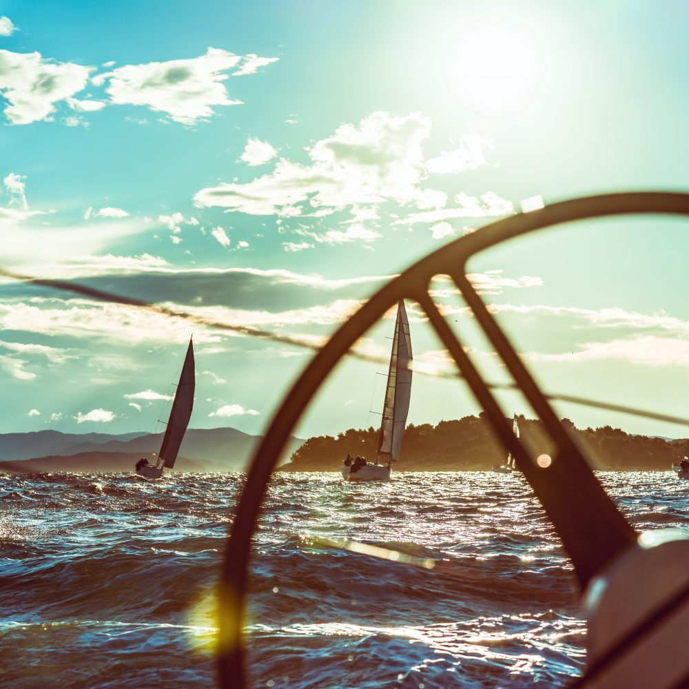 Boat deck POV from a sailboat during a regatta. event Property released. Taken by Sony a7R II, 42 Mpix.